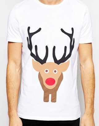 Asos T-Shirt With Christmas Rudolf Front And Back Print