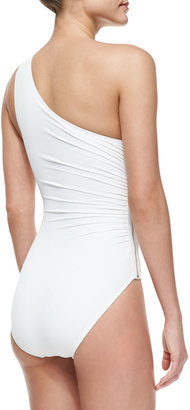 MICHAEL Michael Kors One-Shoulder Zip Maillot