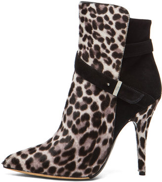 Tabitha Simmons Hunter Calf Hair Booties in Grey Leopard & Black