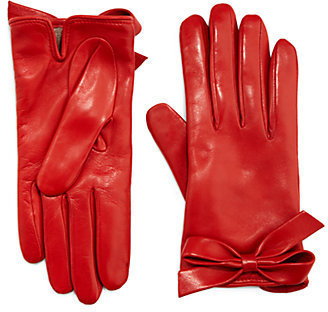 Valentino Leather Bow Gloves