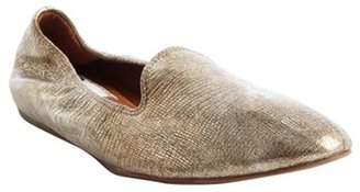 Lanvin gold metallic leather loafer flats