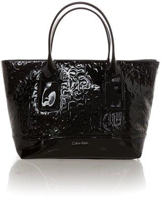 Calvin Klein Maggie black patent emboss tote bag