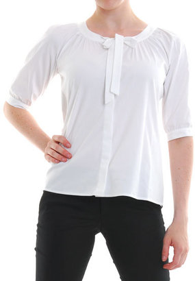 Theory White Luxe Marist Tie Neck Blouse