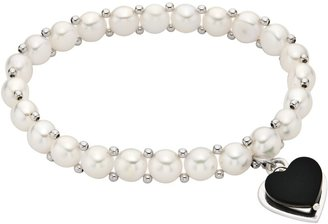 Ice.com 6-7mm Button Cultured Freshwater Pearl and Onyx Sterling Silver Heart Bracelet