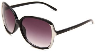 UNIONBAY Union Bay Women's U183 Oversized Oval Sunglasses,Black Frame,Smoke Gradient Lens,One Size