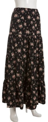Wyatt black and rose floral tiered maxi skirt