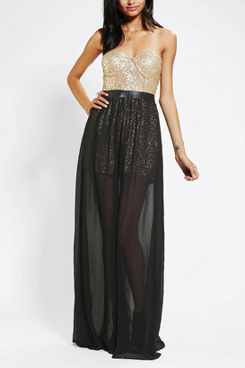 Urban Outfitters Reverse Sequin Bustier Strapless Maxi Dress