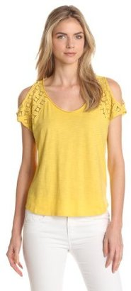 Vince Camuto Two by Women's Cold Shoulder Lace Sleeve Tee