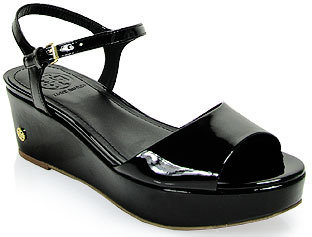 Tory Burch Abena - Low Wedge Patent Leather Sandal in Black