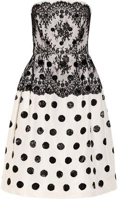 Oscar de la Renta Embellished lace and silk-faille dress