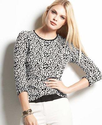 Ann Taylor Leopard Jacquard 3/4 Sleeve Sweater