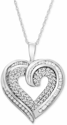 Macy's Diamond Baguette Heart Necklace in 10k Gold or White Gold (3/8 ct. t.w.)