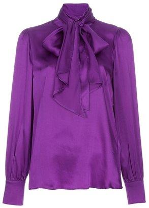 True Royal Silk pussy bow blouse