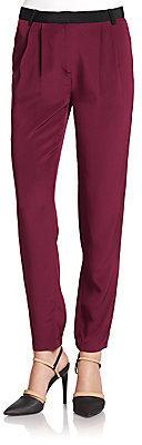 Tibi Contrast Waist Silk Pleated Pants
