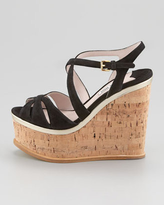 Miu Miu Strappy Suede Cork Wedge Sandal, Black