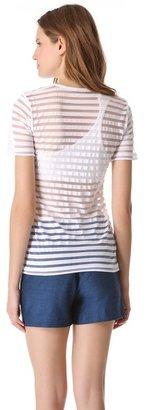Alexander Wang Shadow Stripe Short Sleeve Tee