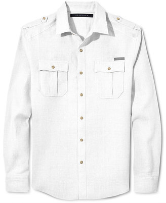 Sean John Shirt Big and Tall, Solid Linen Shirt