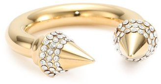 Vita Fede Titan Gold with Clear Crystal Ring, Size 7