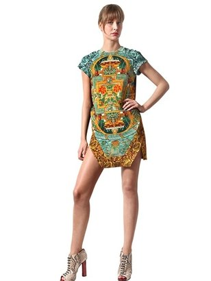 Just Cavalli Jade Mandala Print Crepe Dress