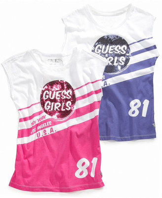 GUESS Shirt, Girls Graphic Tee with Sequins