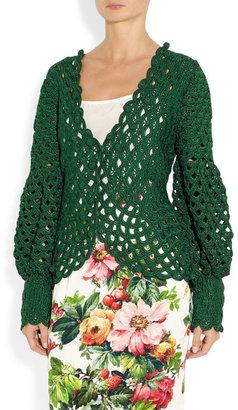 Oscar de la Renta Crochet-knit silk cardigan
