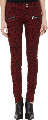 Balmain Zebra Moto Jeans