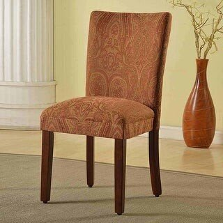 HomePop Parsons Red/Gold Damask Dining Chair