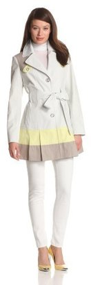 Via Spiga Women's Single Breasted Trench Coat With Color Blocking Detail