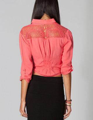 Full Tilt Crochet Back Tie Front Womens Shirt