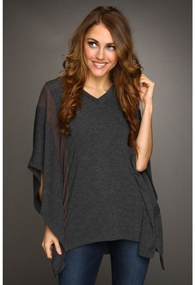 Three Dots Contrast V-Neck Poncho (Charcoal/Chestnut) - Apparel