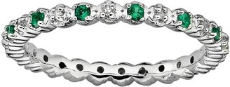 Stacks & Stones Sterling Silver Lab-Created Emerald & Diamond Accent Stack Ring