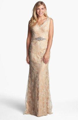 La Femme Embellished Sleeveless Lace Gown