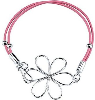 JCPenney Pink Leather Pure Silver-Plated Floral Adjustable Bracelet