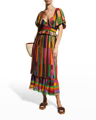 Farm Rio Painted Stripes Blouson-Sleeve Pleated Dress