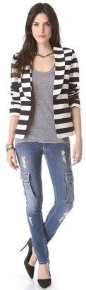 Alice + Olivia Strong Shoulder Striped Blazer