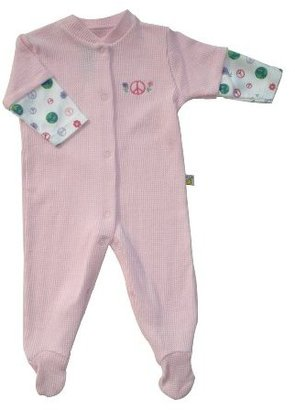 Noa Lily Light Pink Waffle Footie, Girls peace