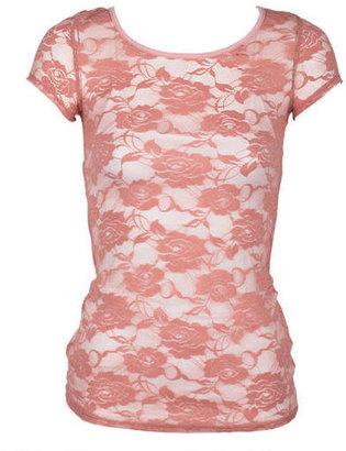 Delia's Floral Lace Short Sleeve