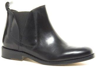 Faith Santa Leather Black Flat Chelsea Boots