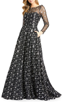 Mac Duggal Sequin Cluster Long-Sleeve A-Line Gown