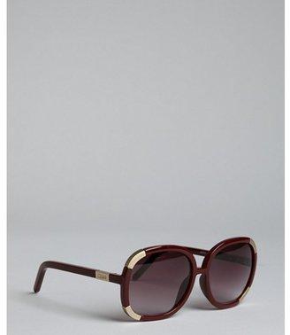 Chloé burgundy striped acrylic oversized square sunglasses