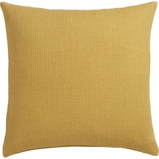 Crate & Barrel Waffle Gold Pillow with Feather-Down Insert.