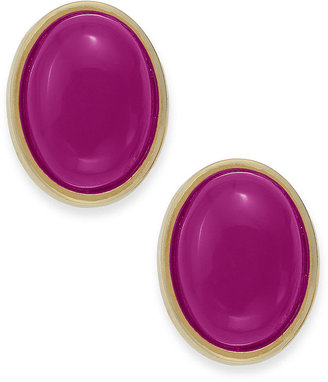 Charter Club Earrings, Gold-Tone Pink Stone Oval Button Clip-On Earrings