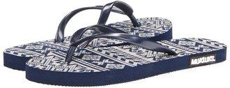Muk Luks Flat Flip Flops (Southwest Fair Isle Navy) - Footwear