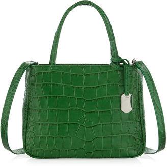 Furla Pratica Small Crocodile-Embossed Shopper Bag, Avocado
