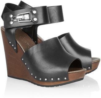 See by Chloe Leather and wooden wedge sandals