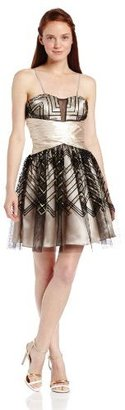 Adrianna Papell Hailey Logan by Juniors Strapless Glitter Party Dress