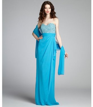 Badgley Mischka turquoise chiffon sequin bead embellished strapless gown