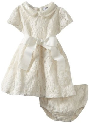 Hartstrings Baby-girls Infant Knit Lace Dress and Diaper Cover Set