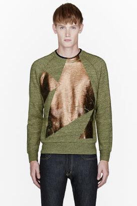 Paul Smith Green & Bronze painted sweatshirt