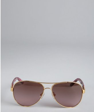 Tory Burch Gold Metal And Pink Acrylic Arm Aviator Sunglasses